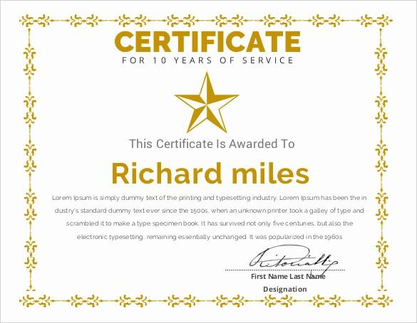 10 Years Of Service Certificate Best Of Printable Certificate Template 46 Adobe Illustrator