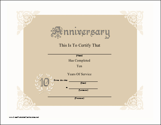 10 Years Of Service Certificate Elegant A Lacy Look Certificate Honor 10 Years Of Service for An