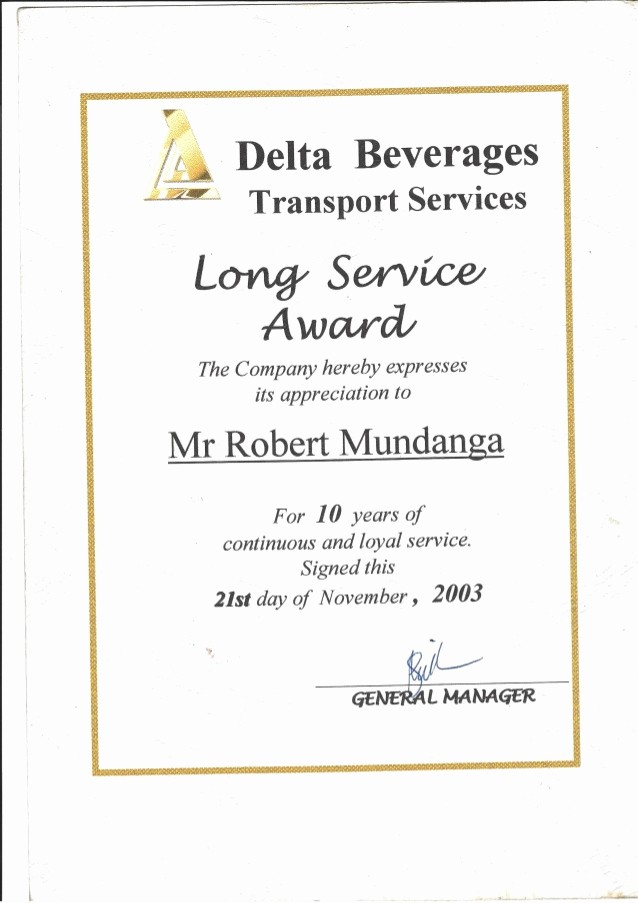 10 Years Of Service Certificate Fresh Delta Beverages Certificate Of Service