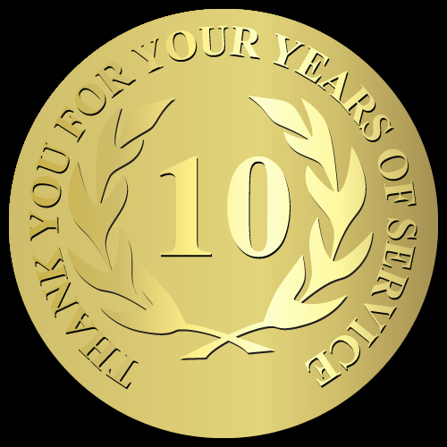 10 Years Of Service Certificate Lovely 10 Years Of Service Foil Stamped & Embossed Award Labels