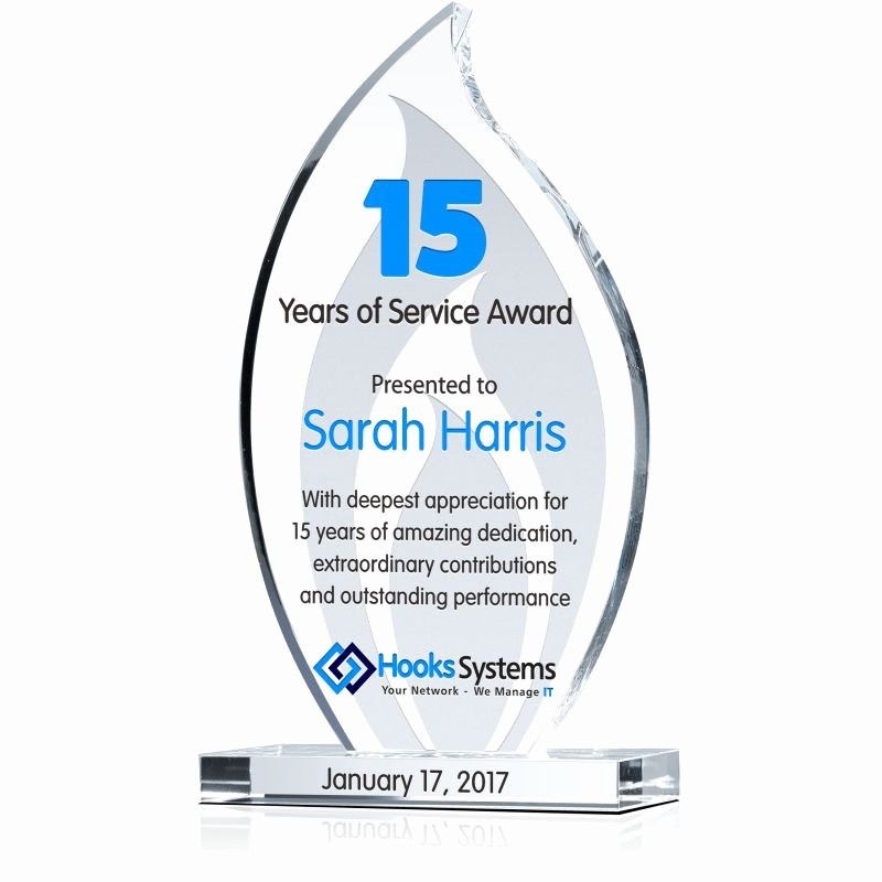 10 Years Of Service Certificate Luxury Crystal Flame Achievement Award Wording Sample by