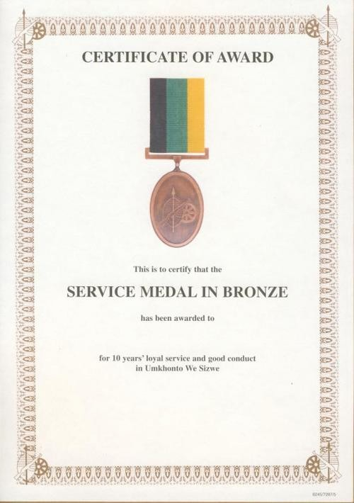 10 Years Of Service Certificate New Other Badges & Insignia A2 Award Certificate Sandf