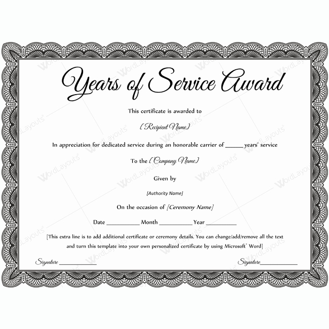 10 Years Of Service Certificate New Sample Years Service Award Awardcertificate