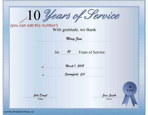 10 Years Of Service Certificate Unique A Printable Certificate Thanking the Recipient for Any