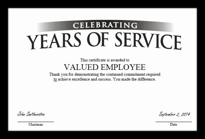 10 Years Of Service Certificate Unique Employee Recognition Award Templates Free Templates