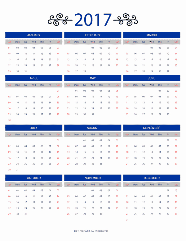 12 Month 2017 Calendar Printable Awesome 12 Month Colorful Calendar for 2017 Free Printable Calendars
