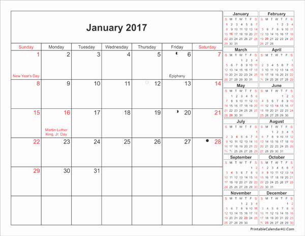 12 Month 2017 Calendar Printable Beautiful 10 Best January 2017 Calendar Printable with Holidays and
