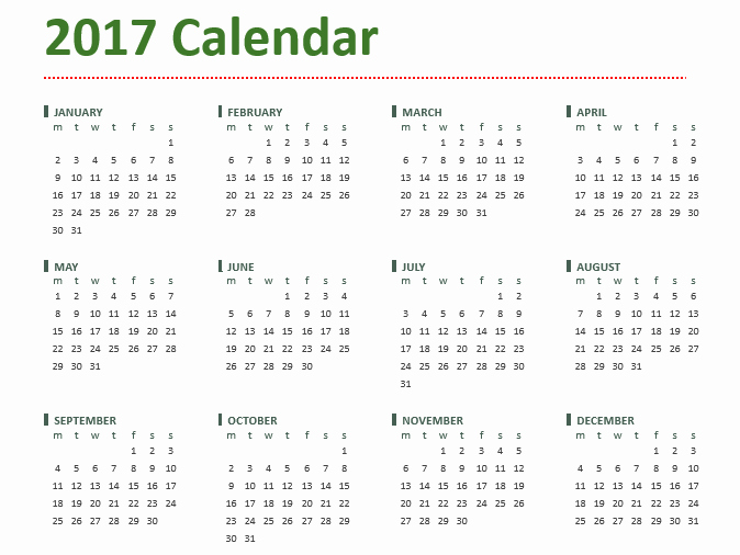 12 Month 2017 Calendar Printable Best Of 2017 Calendar Templates 5 Plus Weekly and Monthly Calendars