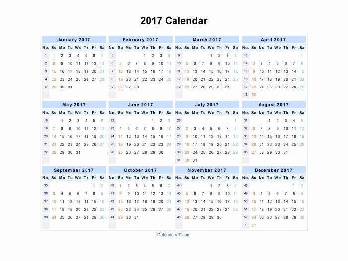 12 Month 2017 Calendar Printable Elegant 12 Month Calendar Template 2017