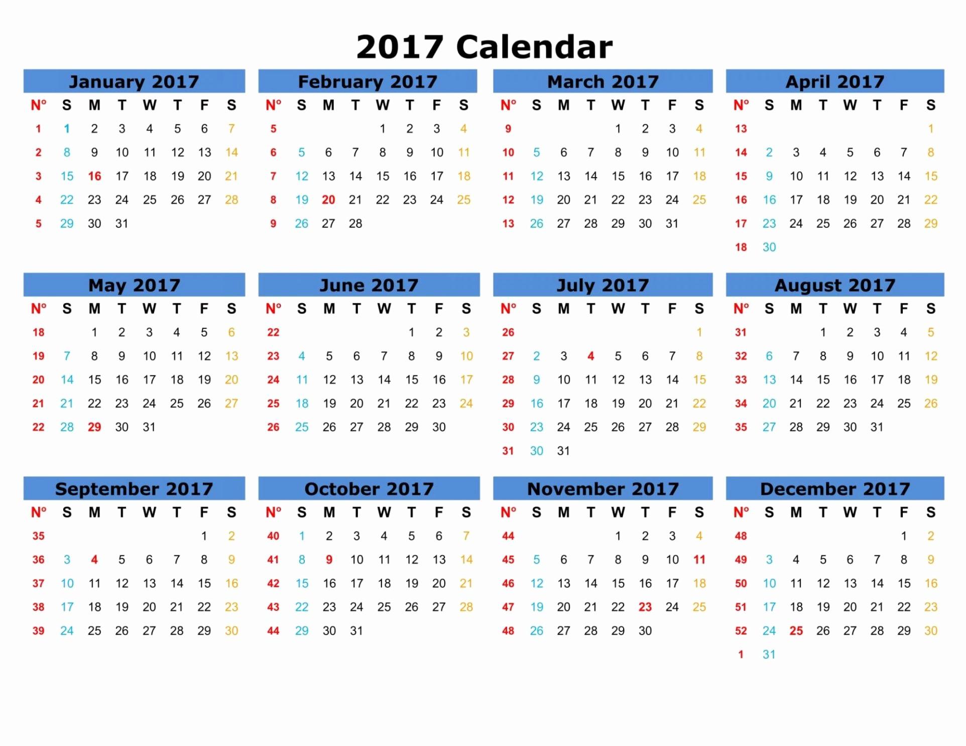 12 Month 2017 Calendar Printable Fresh Printable Monthly Calendar 2017