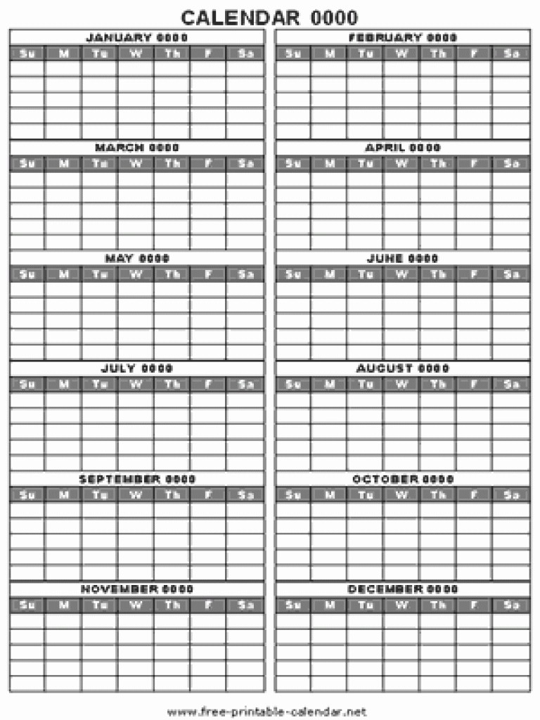 12 Month 2017 Calendar Printable Inspirational Blank 12 Month Calendar
