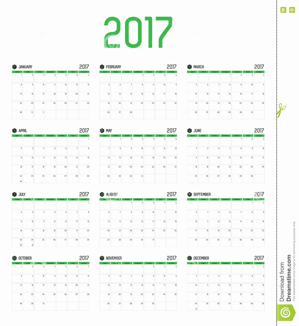 12 Month 2017 Calendar Printable Lovely 2017 Calendar 12 Months