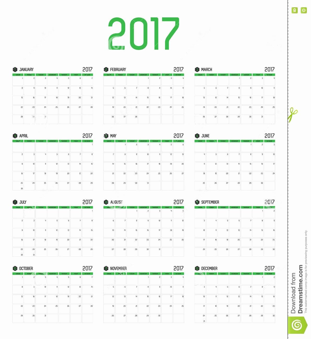 12 Month 2017 Calendar Printable Lovely 2017 Calendar 12 Months