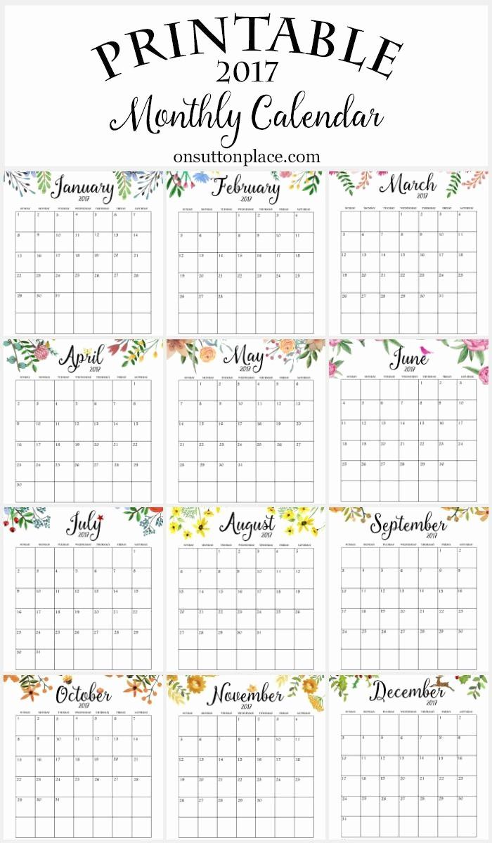 12 Month 2017 Calendar Printable Lovely 2017 Free Printable Monthly Calendar