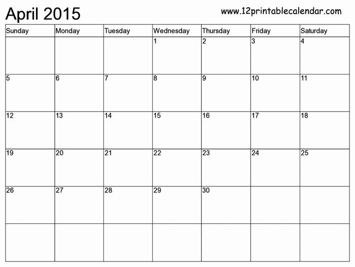 12 Month 2017 Calendar Printable New 12 Month Blank Calendar