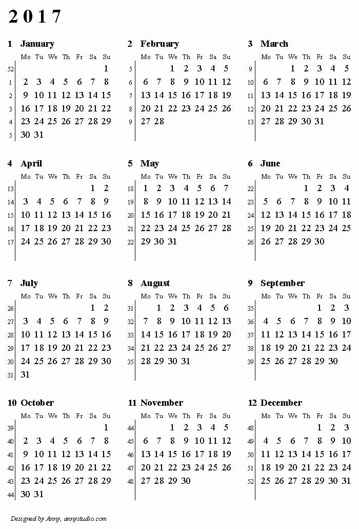 12 Month 2017 Calendar Printable New Kalendaryo 2017