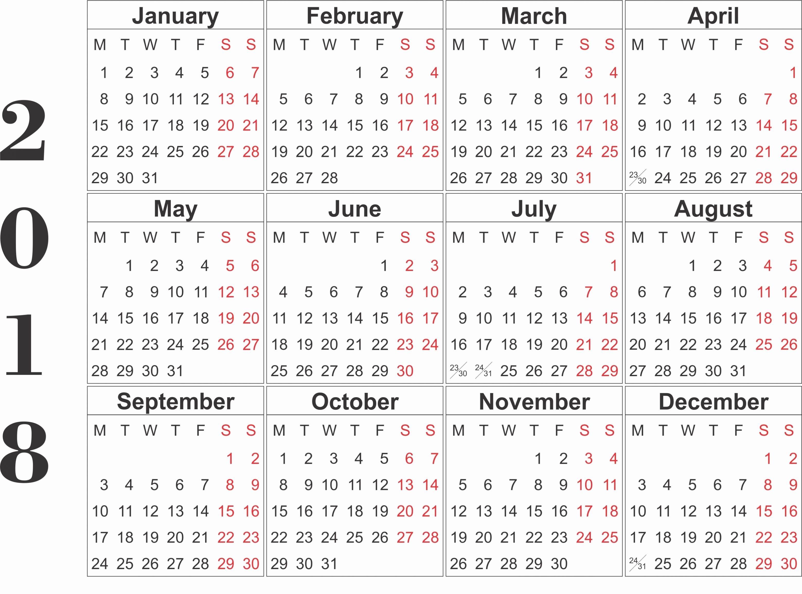 12 Month 2017 Calendar Printable Unique Free Printable 2018 Calendar Template Word Excel