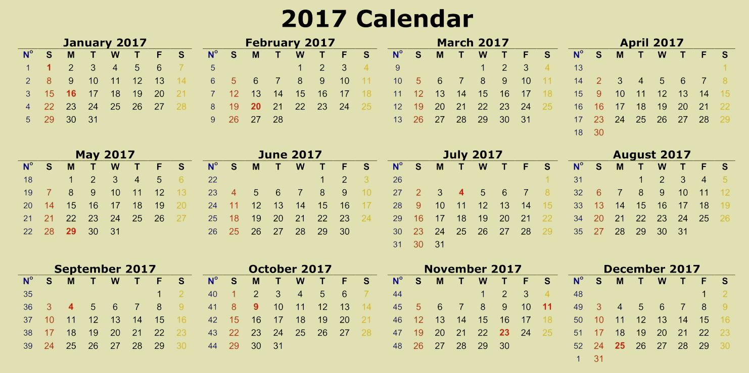 12 Month 2017 Calendar Printable Unique Printable 2017 Calendar Of 12 Months