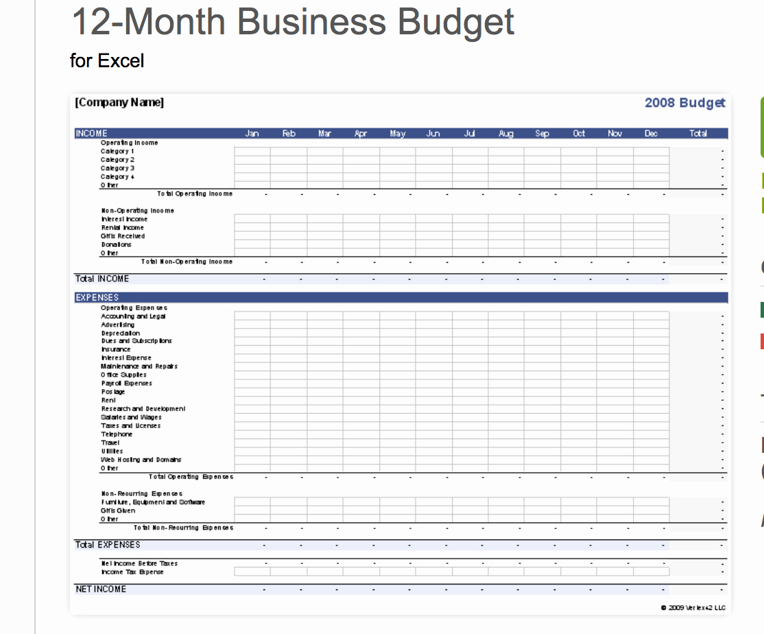 12 Month Budget Plan Template Awesome 7 Free Small Business Bud Templates