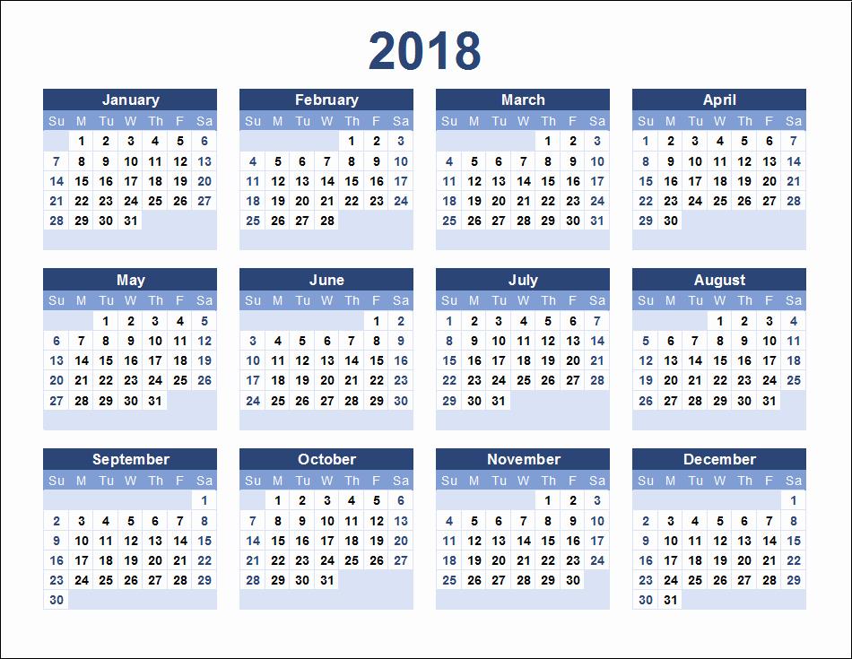 12 Month Calendar 2018 Printable Awesome 12 Month Calendar 2018 On E Page Twelve Month Printable