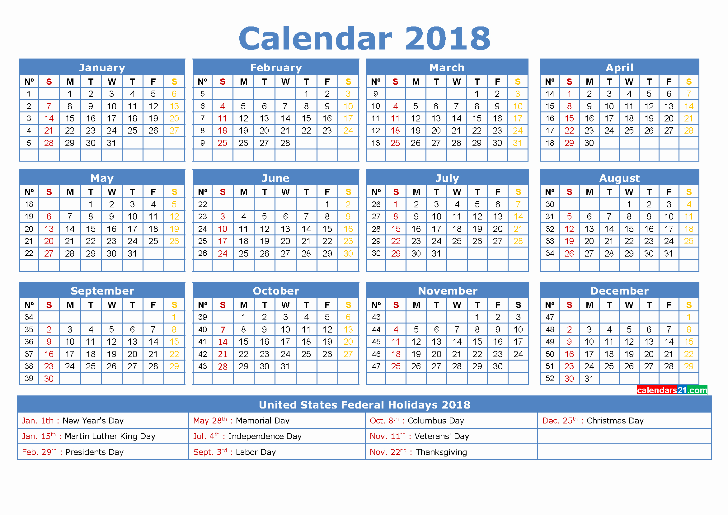 12 Month Calendar 2018 Printable Beautiful 12 Month Calendar 2018 Printable with Holidays In Us