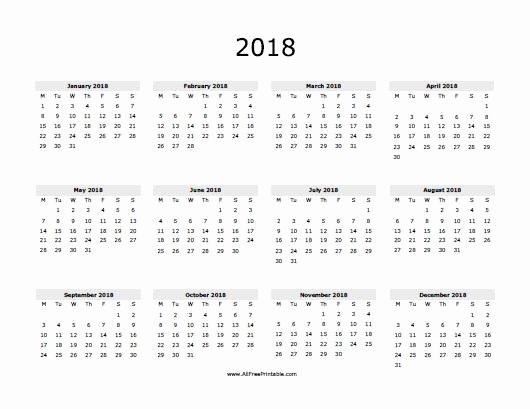 12 Month Calendar 2018 Printable Elegant 2018 Calendar Free Printable Allfreeprintable