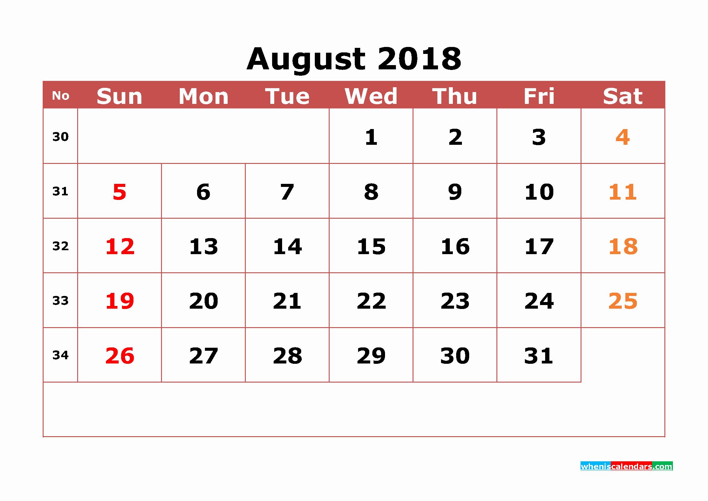 12 Month Calendar 2018 Printable Elegant 2018 Monthly Calendar Printable 12 Month as Pdf Image