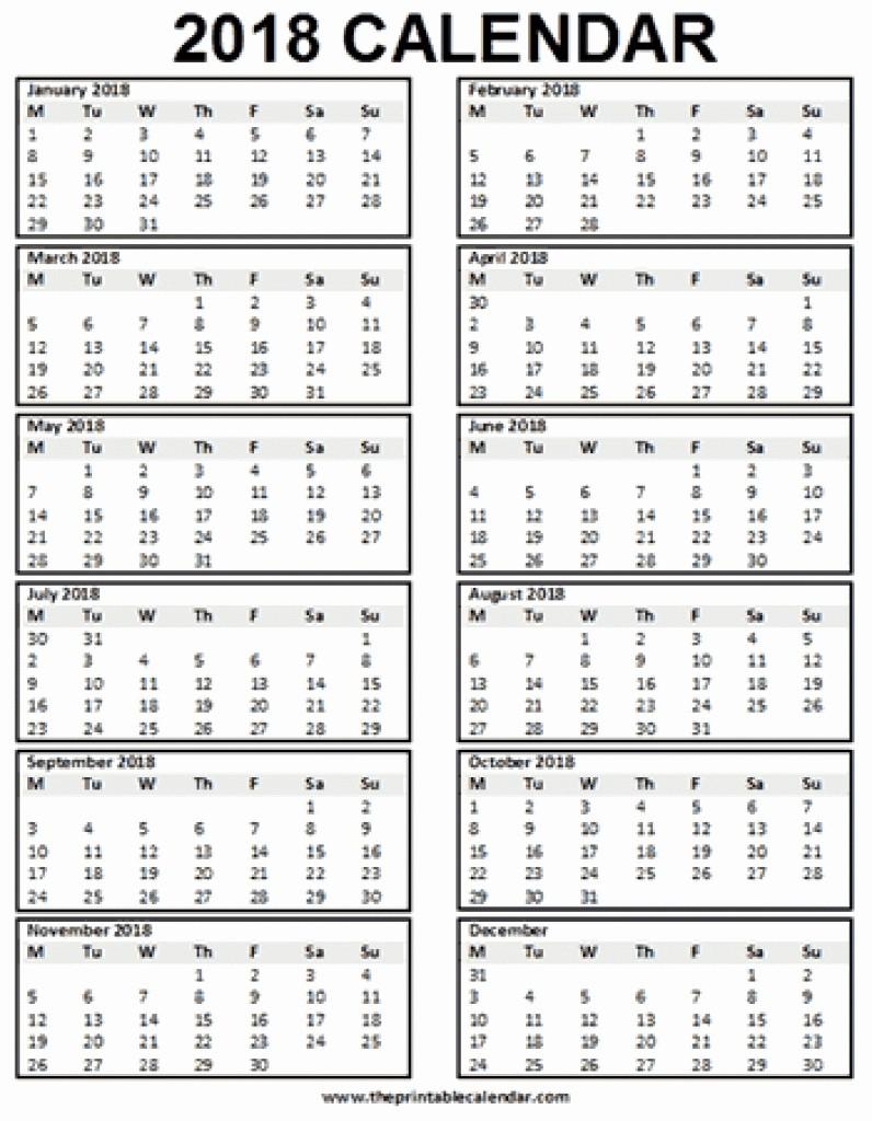 12 Month Calendar 2018 Printable Elegant 2018 Single Page 12 Month Calendar