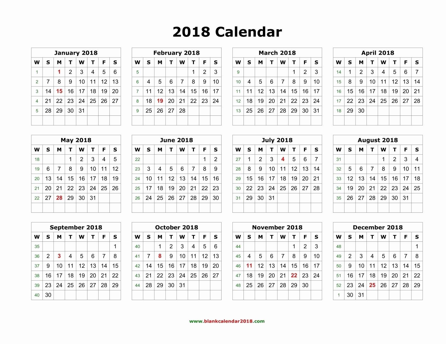 12 Month Calendar 2018 Printable Elegant Printable Twelve Month Calendar 2018 Two Months Per Page