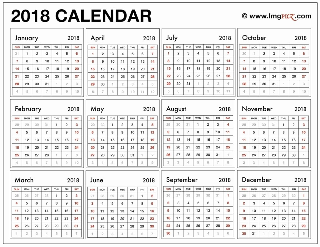 12 Month Calendar 2018 Printable Lovely 12 Month Calendar Print Out 2018 – Template Calendar Design