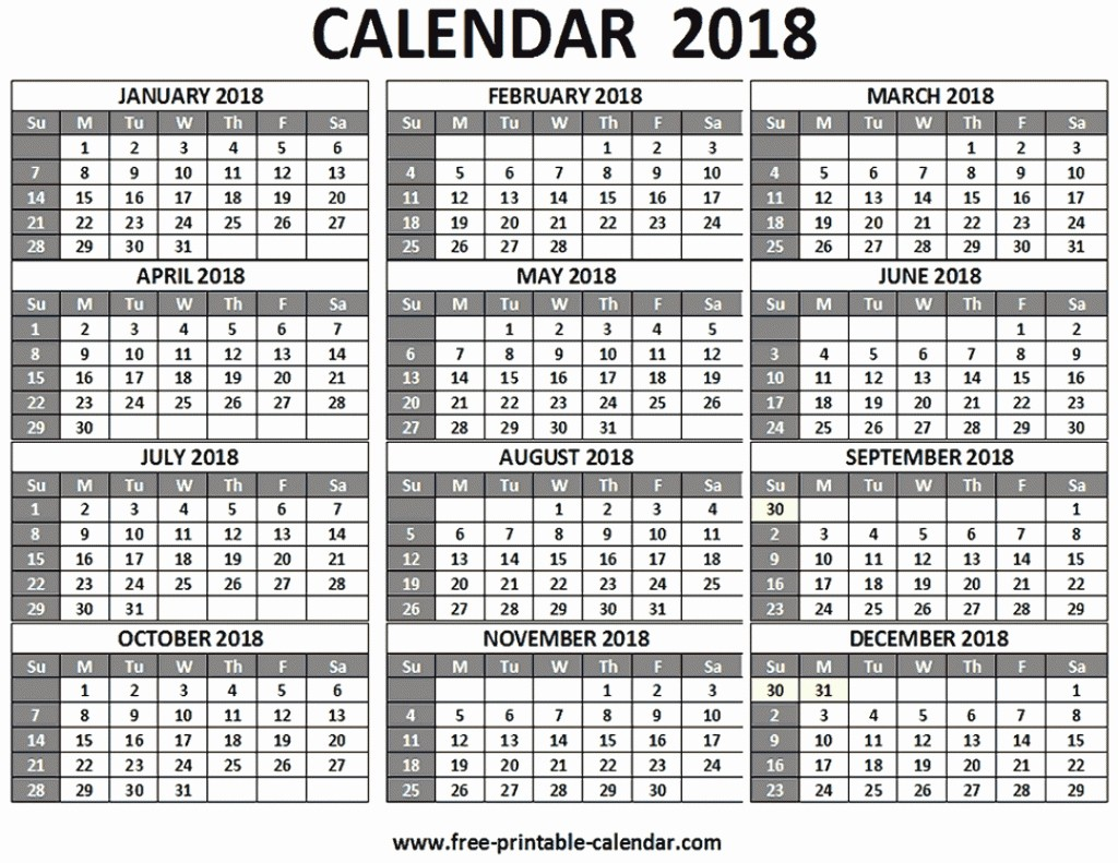 12 Month Calendar 2018 Printable Lovely 2018 Calendar 12 Months On One Page