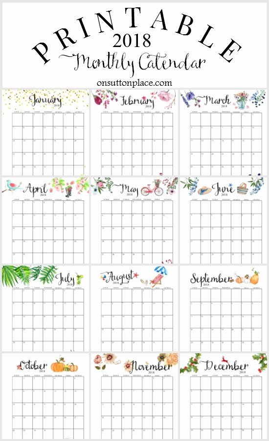 12 Month Calendar 2018 Printable Lovely 2018 Free Printable Monthly Calendar Sutton Place
