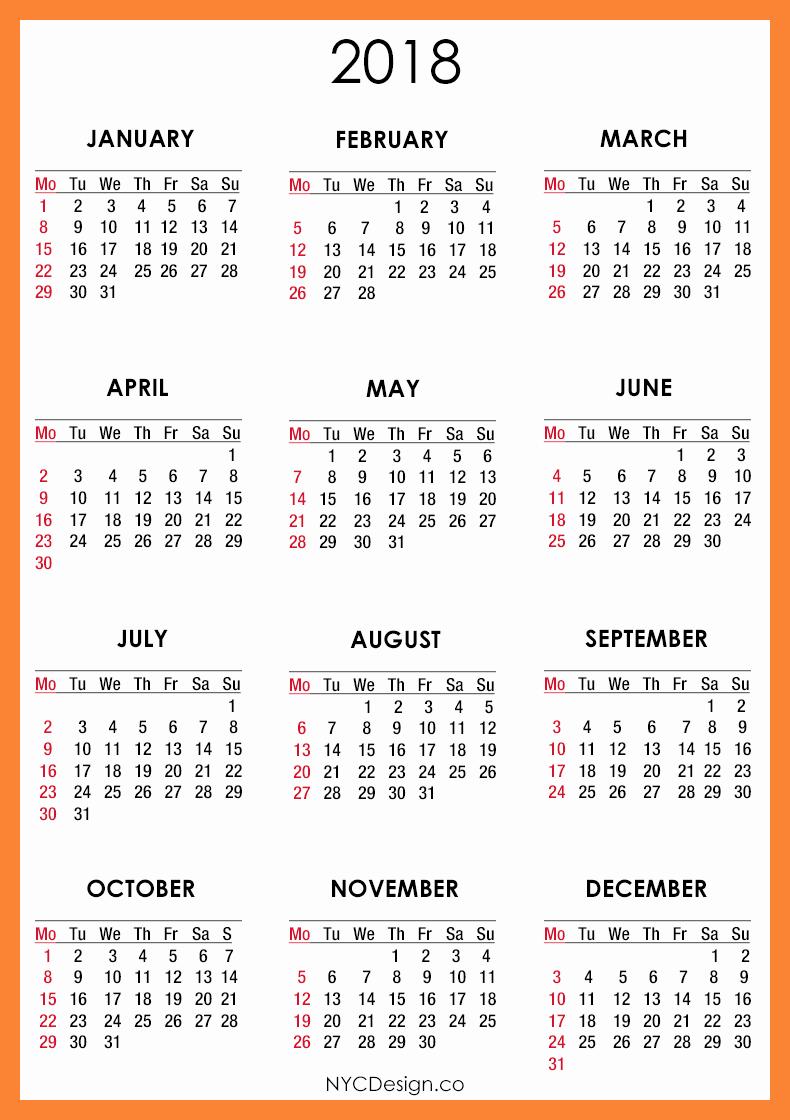 12 Month Calendar 2018 Printable Luxury 12 Month Calendar to Print 2018