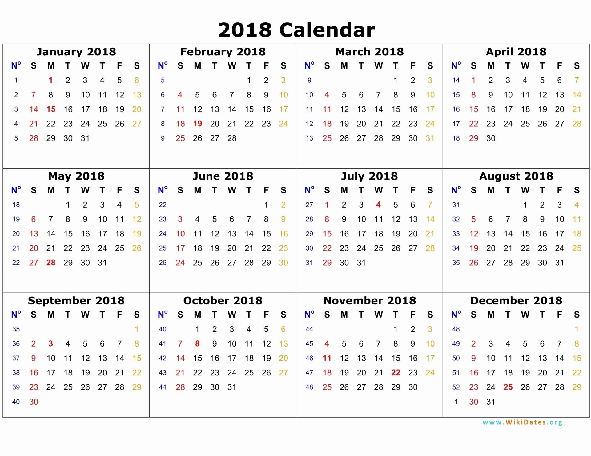 12 Month Calendar 2018 Printable New 2018 Calendar E Page