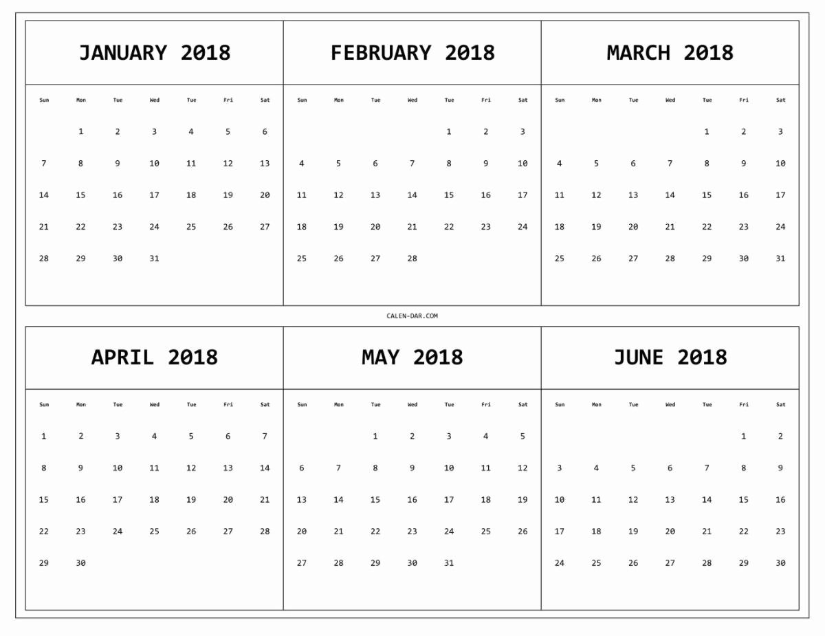 12 Month Calendar 2018 Printable New E Page 2018 12 Month Calendar Printable – Calendar