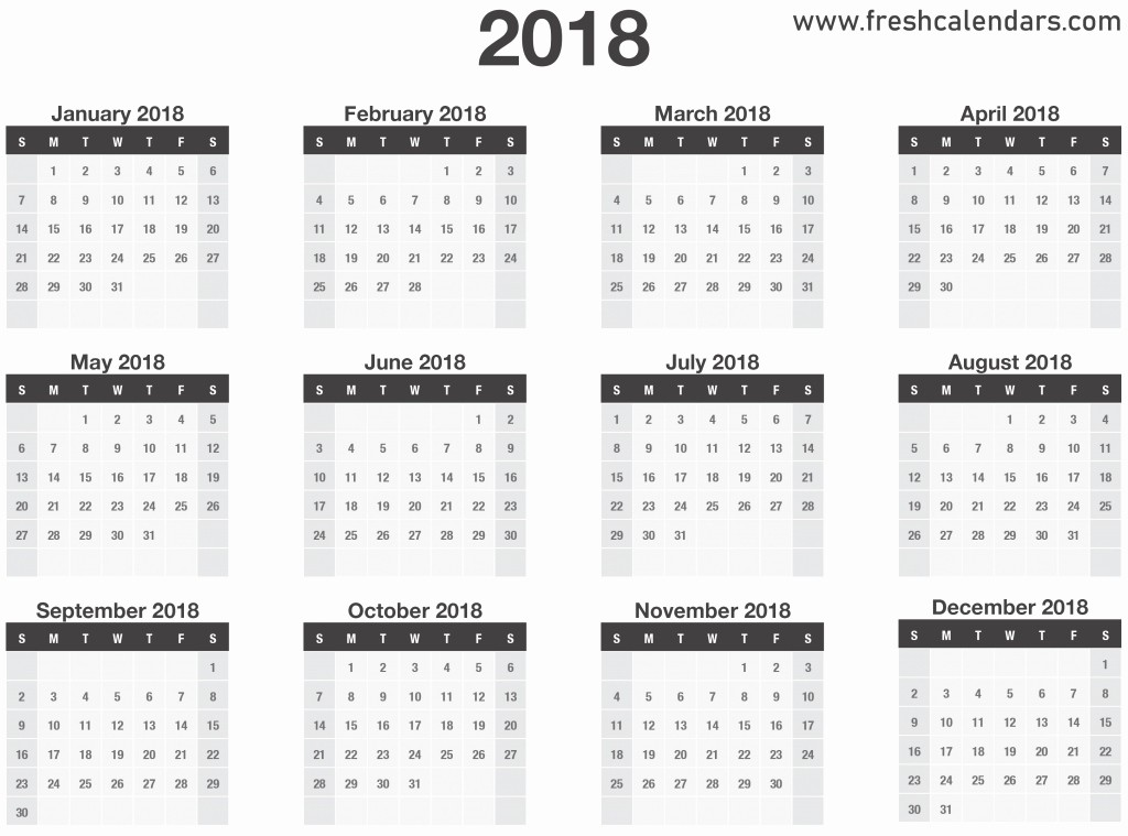 12 Month Calendar 2018 Printable New Printable 2018 Calendar Templates and Regarding 12