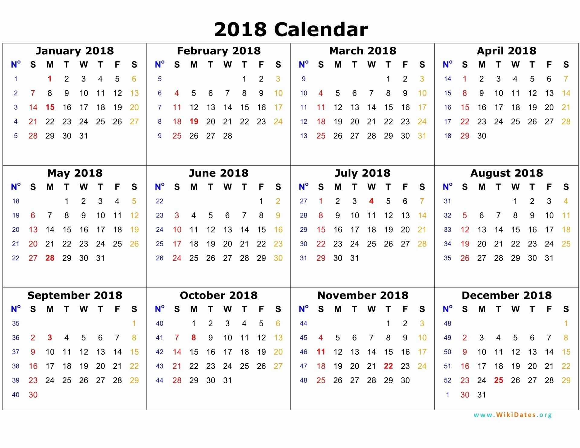 12 Month Calendar 2018 Printable Unique 12 Month Printable Calendar 2018 One Page – Template