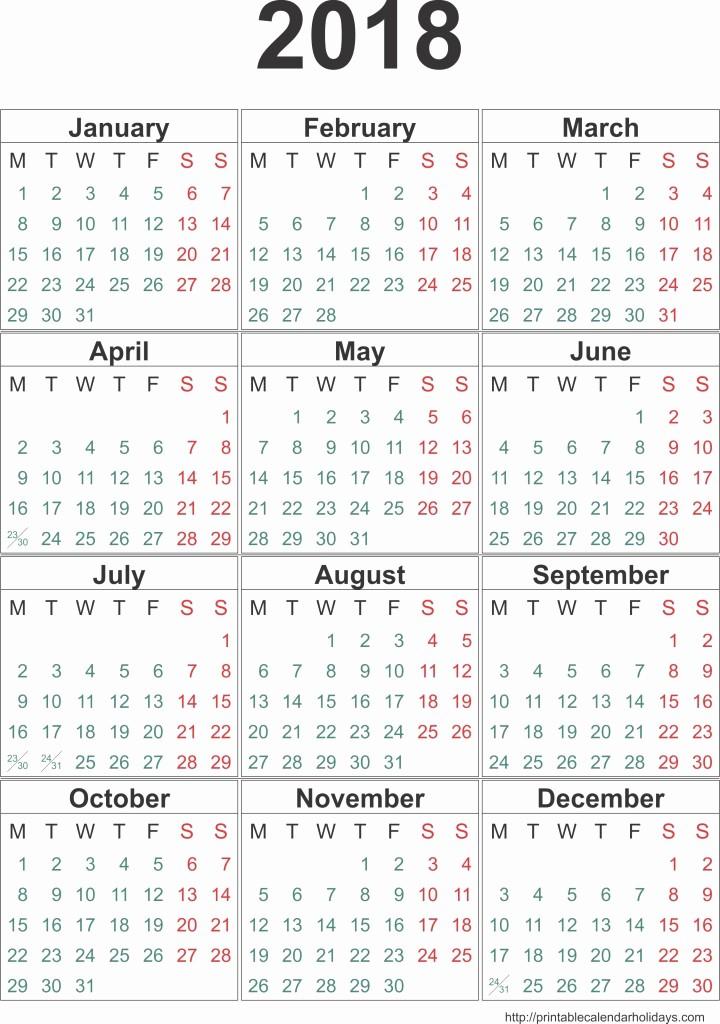 12 Month Calendar 2018 Printable Unique Calendar 2018 Template 12 Months Page Printable 2017