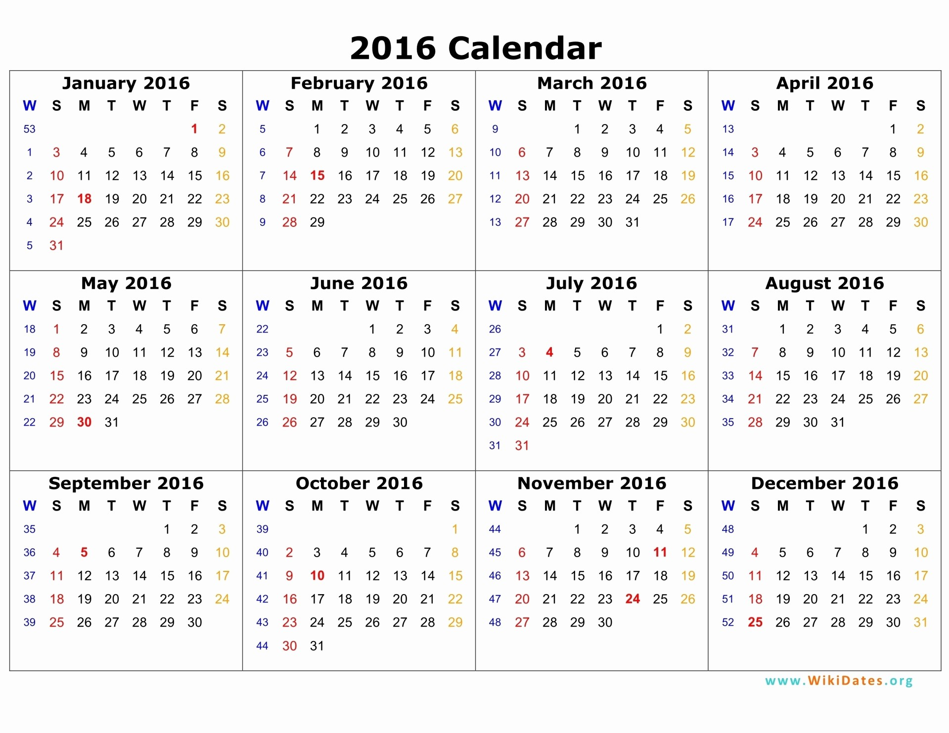 12 Month Calendar for 2016 Awesome 2016 12 Month Calendar Printable