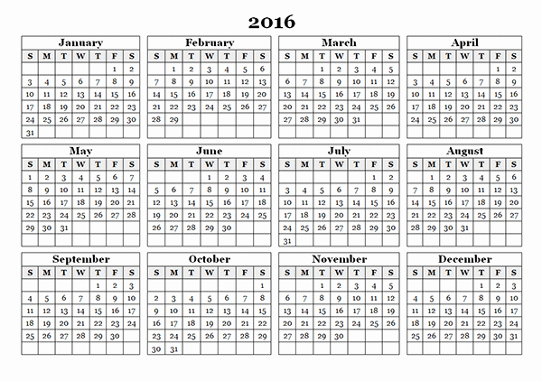 12 Month Calendar for 2016 Awesome Free Printable 11 X 17 Monthly Calendar