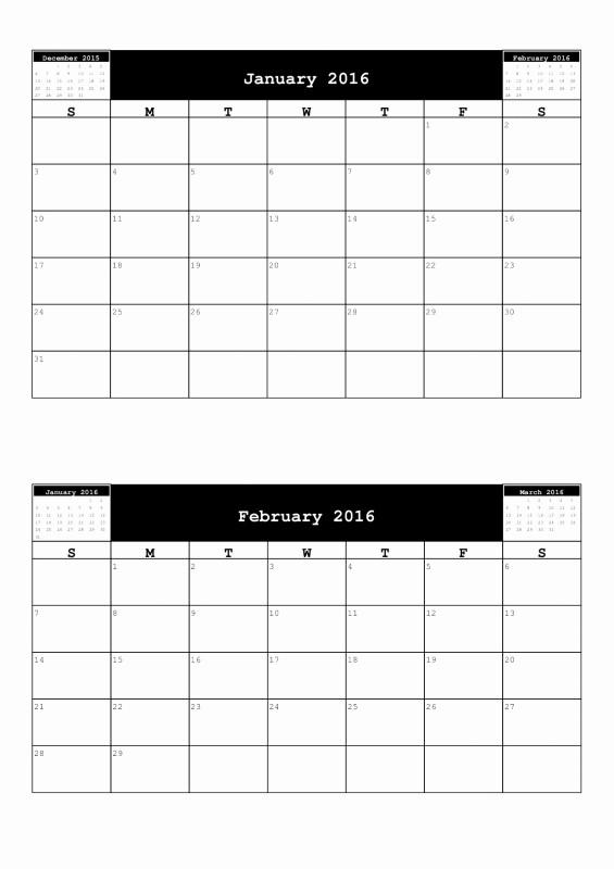 12 Month Calendar for 2016 Beautiful 2 Month Per Page Calendar Free Calendar Template