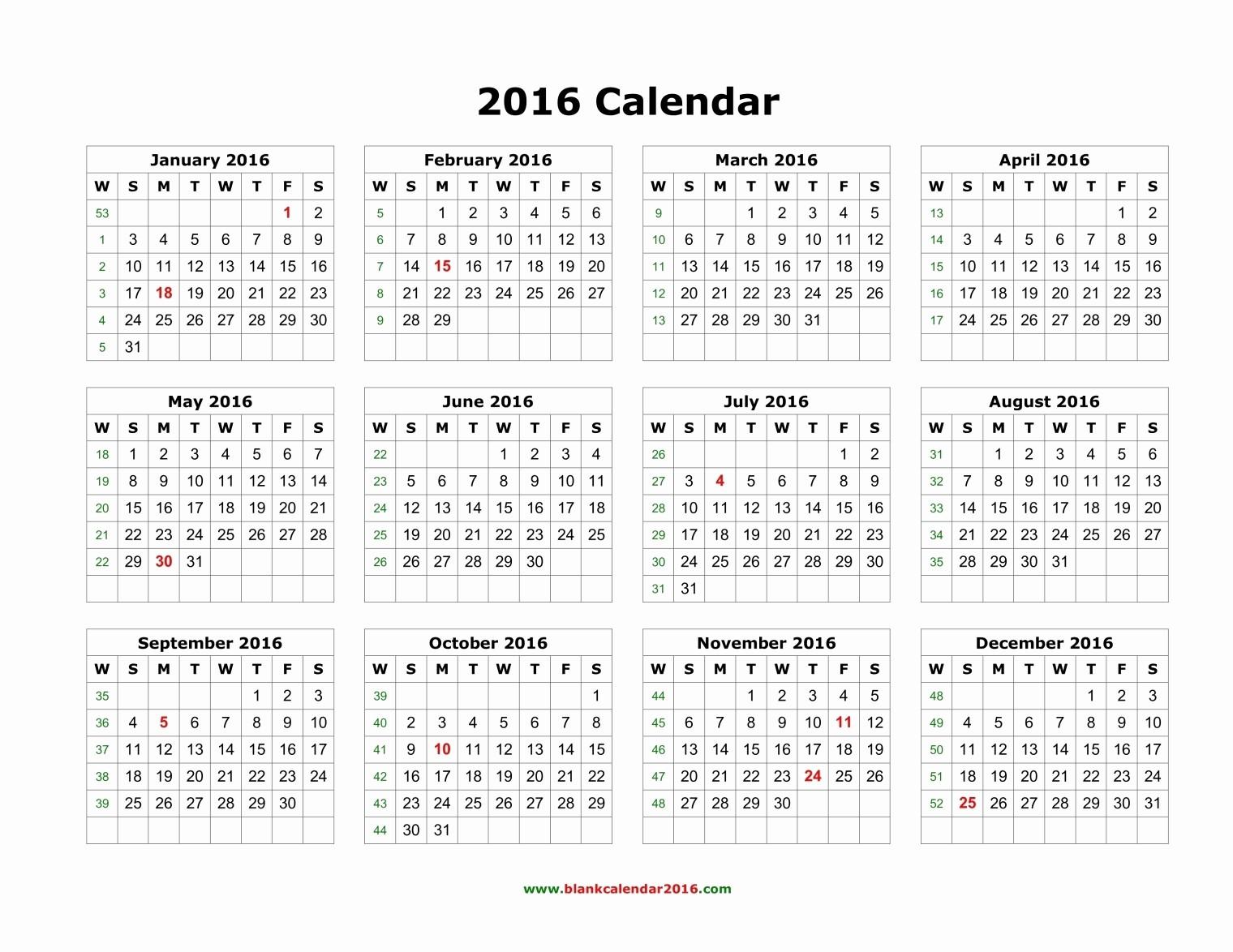 12 Month Calendar for 2016 Beautiful Plain Monthly Calendar 2016
