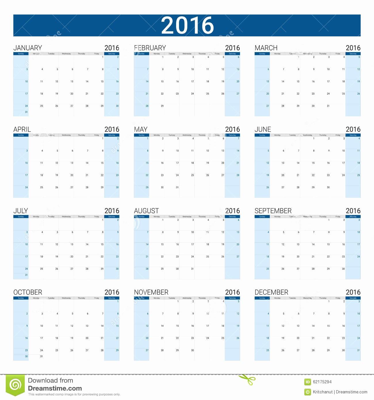 12 Month Calendar for 2016 Elegant 2016 Calendar 12 Months Stock Vector Image