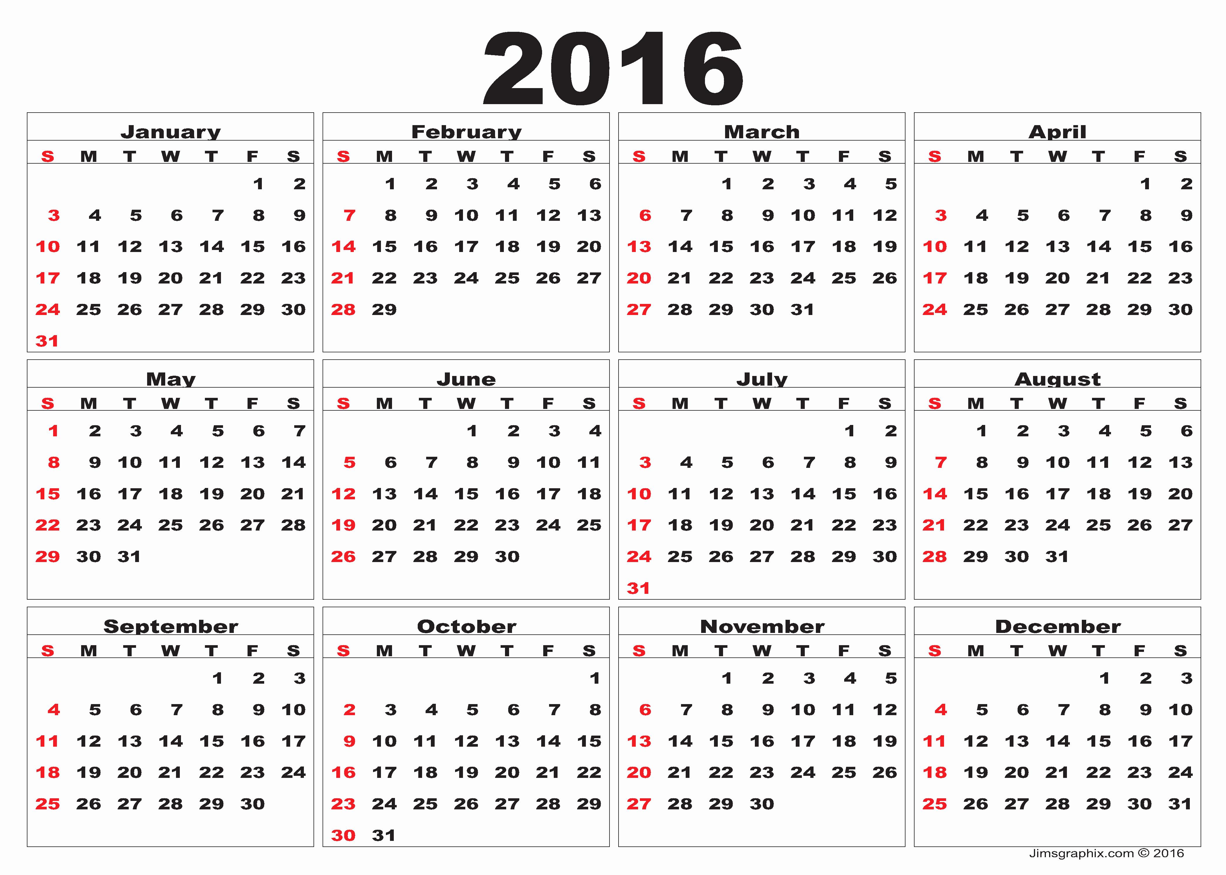12 Month Calendar for 2016 Elegant 2016 Calendar – Printable Calendar Templates