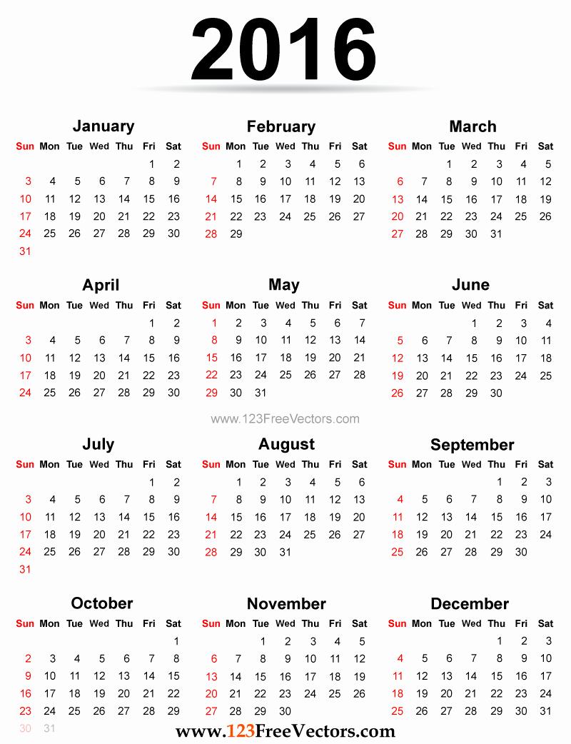 12 Month Calendar for 2016 Elegant 2016 Calendar Printable Free