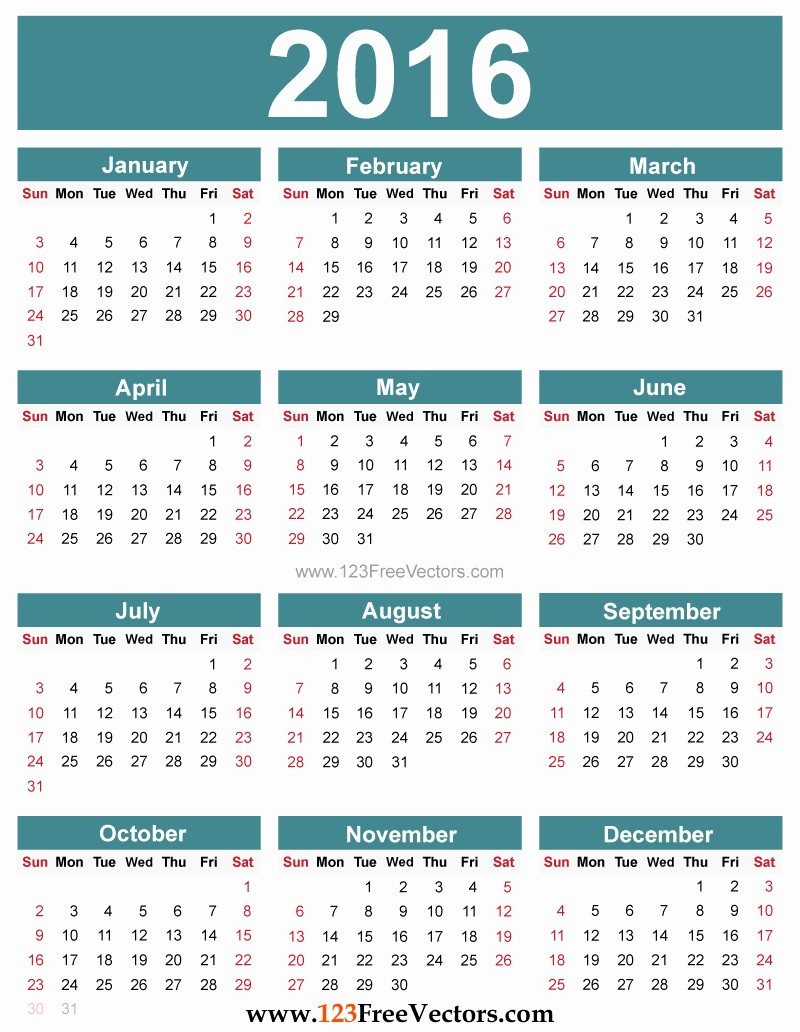 12 Month Calendar for 2016 Elegant Yearly Calendar 2016 to Print Hd