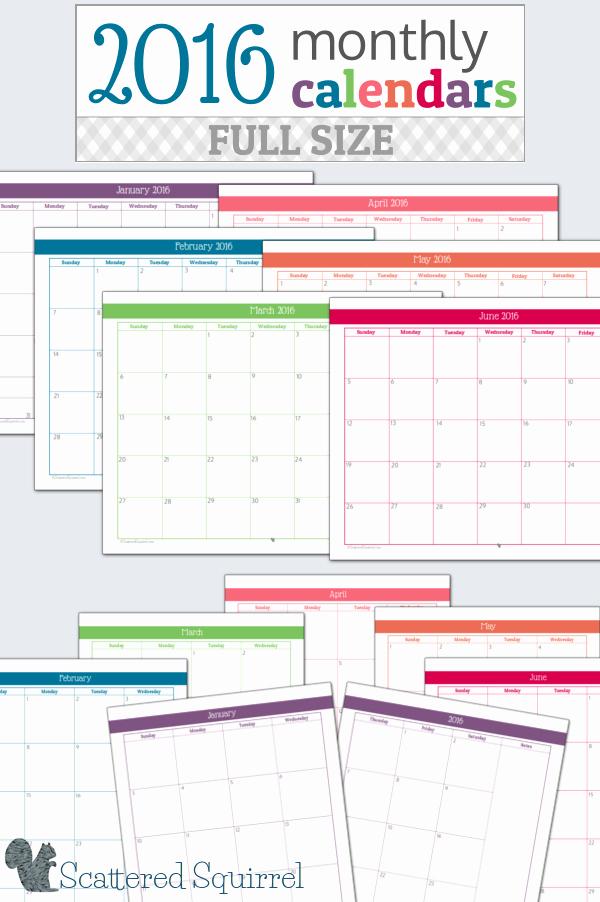 12 Month Calendar for 2016 Lovely 16 Free 2016 Printable Calendar