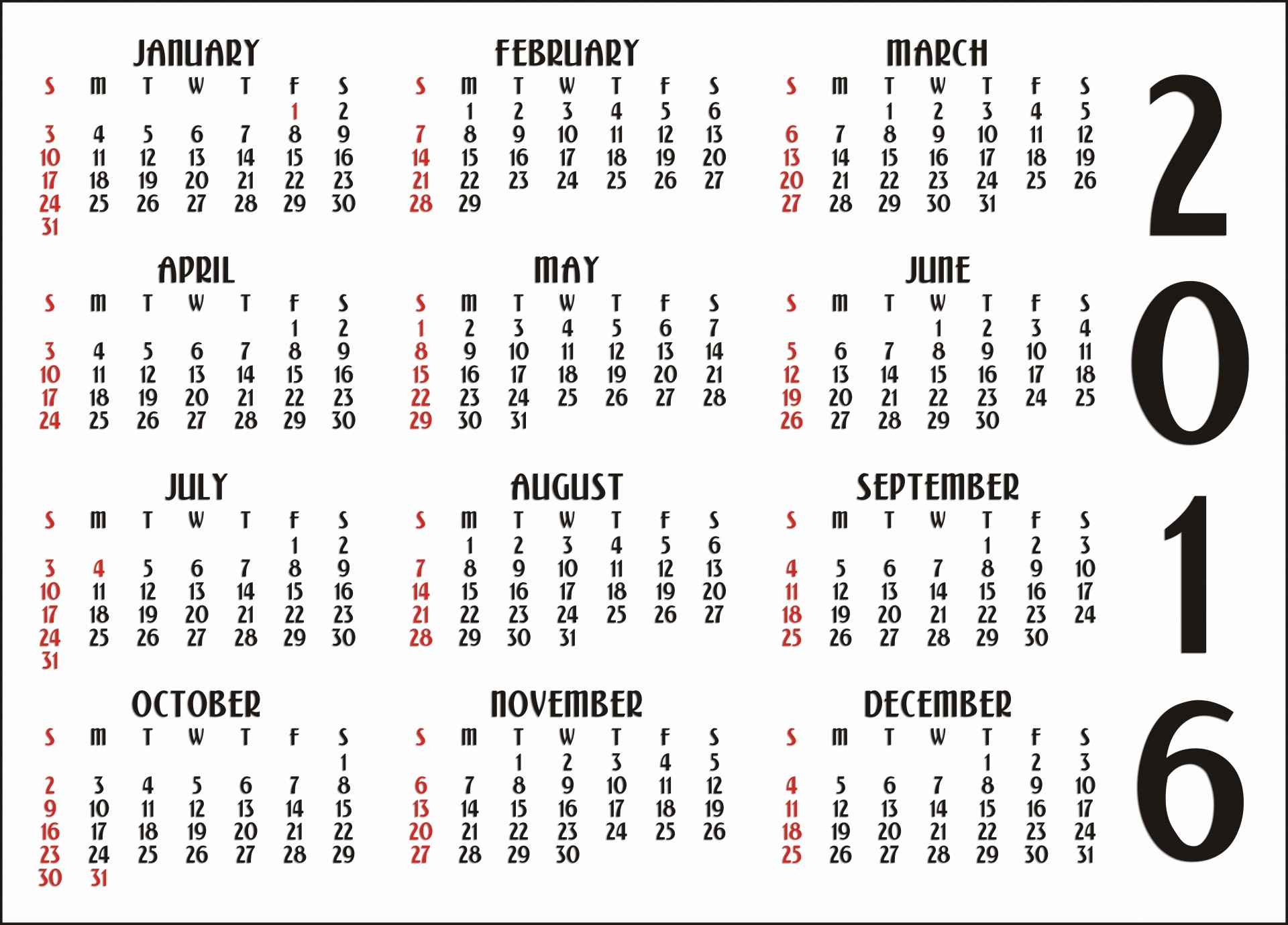 12 Month Calendar for 2016 Luxury 12 Month Calendar 2016 Free Stock Public Domain