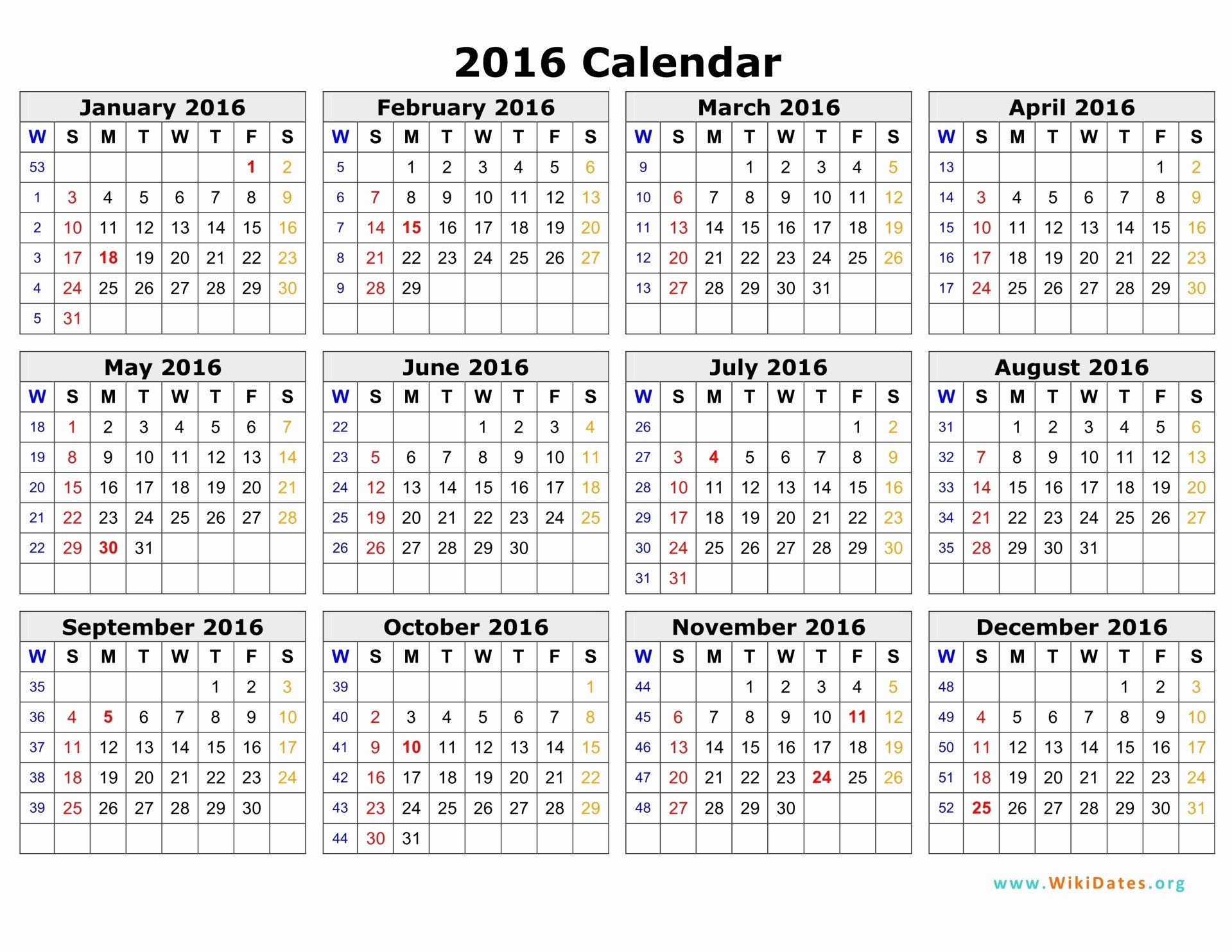 12 Month Calendar for 2016 Luxury 2016 Calendar
