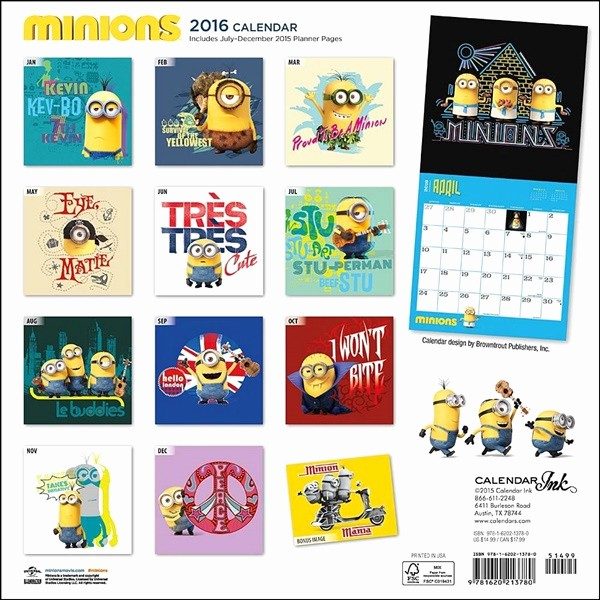 12 Month Calendar for 2016 Luxury Despicable Me Minions Animated Art 12 Month 2016 Wall